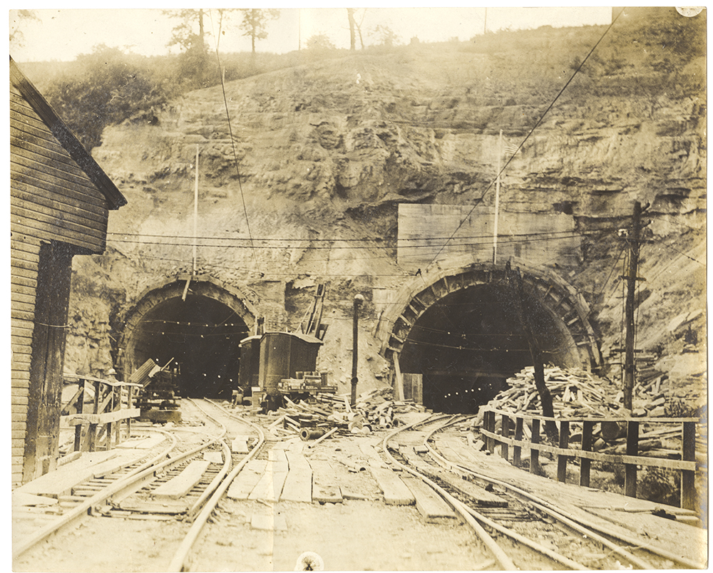 Liberty Tunnels in progress, 1920-21. Heinz History Center.