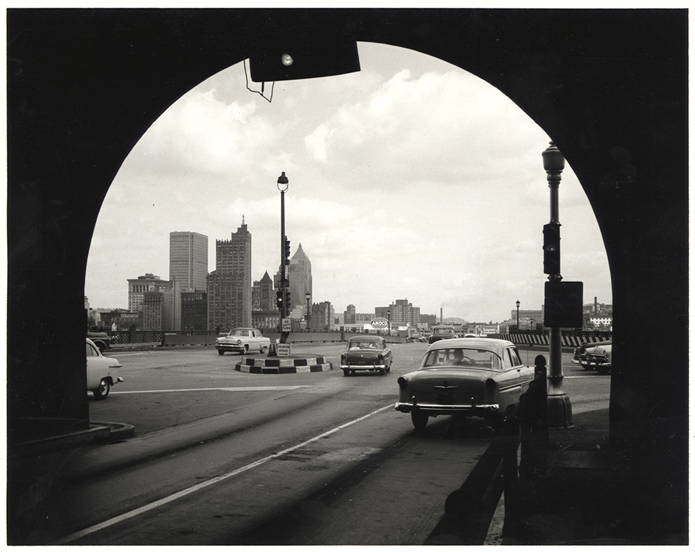 The view of Pittsburgh through the Liberty Tubes, 1950s. Heinz History Center.