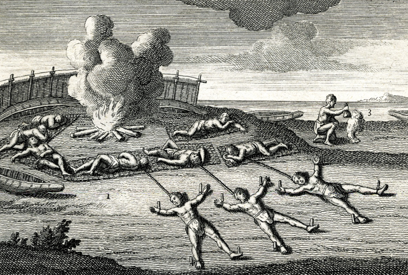 "Captives tied for sleeping. From Joseph-François Lafitau, ""Moeurs des Sauvages Amériquains,"" 1724. Fort Pitt Museum, Pittsburgh, Pa."