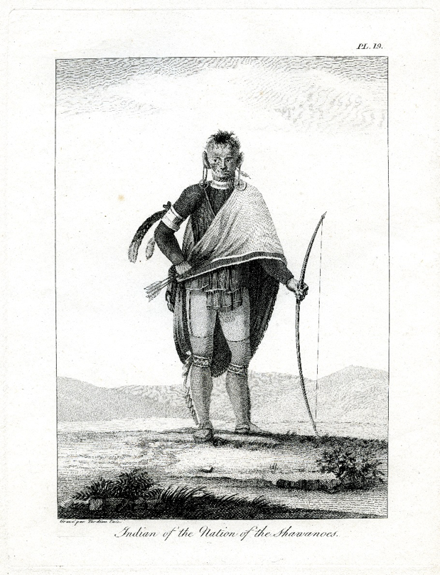 Engraving of a Shawnee Indian from Victor Collot's Journey in North America, 1796. Fort Pitt Museum, Pittsburgh, Pa.