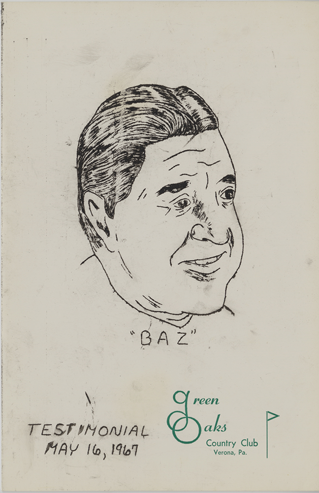 "Front page of testimonial dinner menu, 1967. Aldege ""Baz"" Bastien Collection, 1967. 2005.0047. Detre Library & Archives at the Heinz History Center."