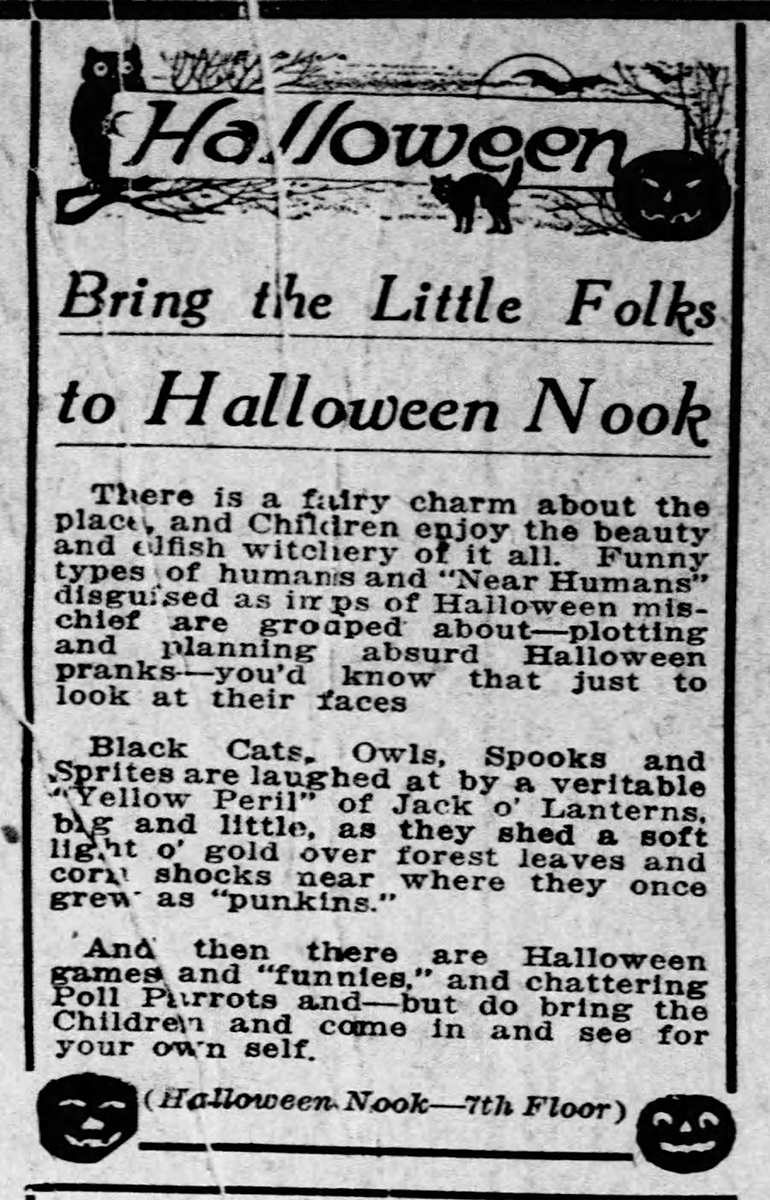 Advertisement for Kaufmann's Halloween Nook, The Pittsburgh Press, October 27, 1915. Heinz History Center.