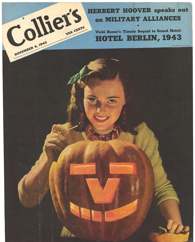 "World War II magazine cover featuring a pumpkin with the ""V for Victory"" symbol, Collier's, November 1943. Heinz History Center."