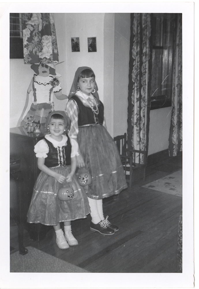 Audrey and Roberta Kins pose in matching outfits before going trick or treating in Lawrenceville, 1957. Kins Family Collection, Detre Library & Archives at the Heinz History Center.