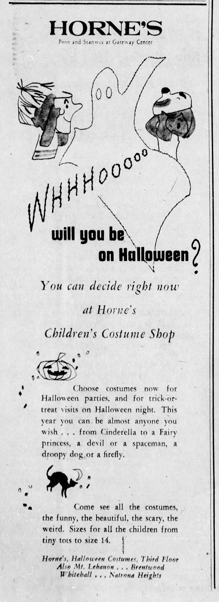 Advertisement for Horne's Children's Costume Shop, Pittsburgh Post-Gazette, October 1, 1956. Heinz History Center.