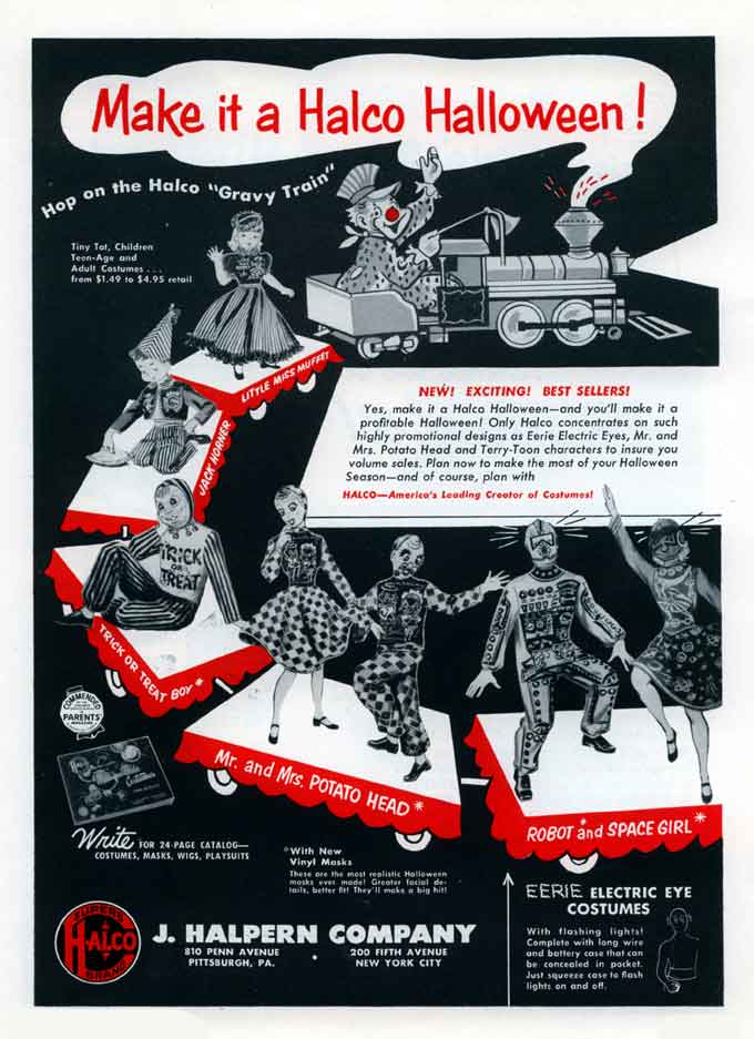 1. Page from a magazine advertisement for Halco Halloween products, 1954. Heinz History Center.