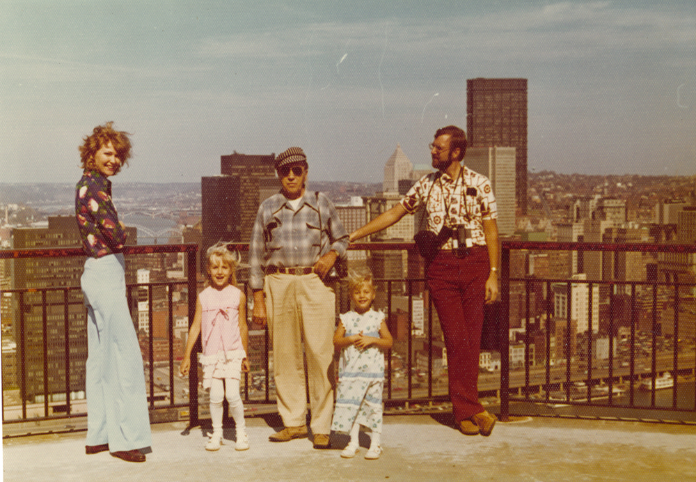 The John Taylor family takes in the view from Mt. Washington, 1970s. Taylor Family Collection, Detre Library & Archives at the Heinz History Center.