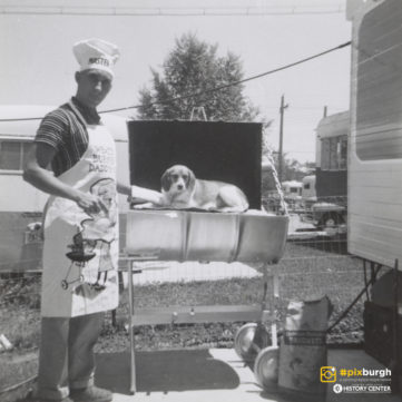 Cindy the family beagle joins the BBQ team, 1958. | pixburgh: a photographic experience, Heinz History Center