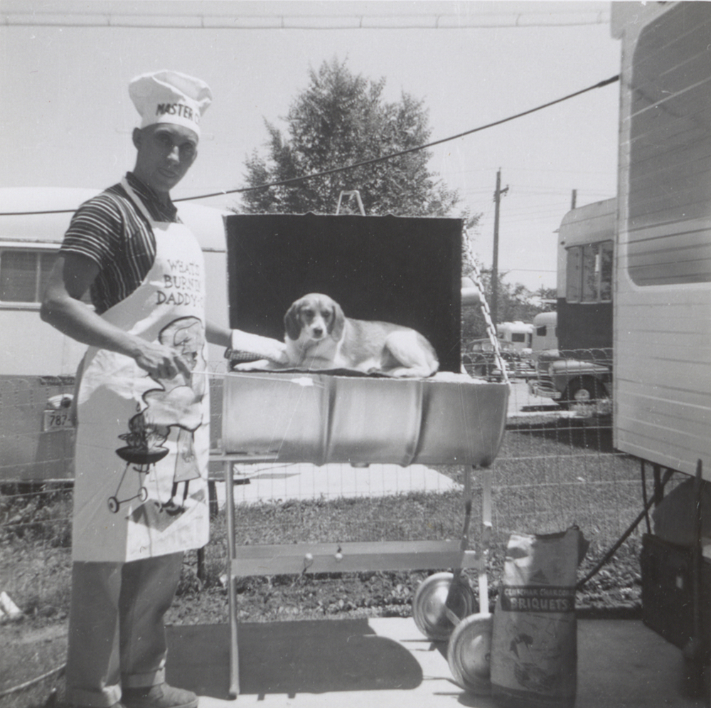 Cindy the family beagle joins the BBQ team, 1958. Taylor Family Collection, Detre Library & Archives at the Heinz History Center.