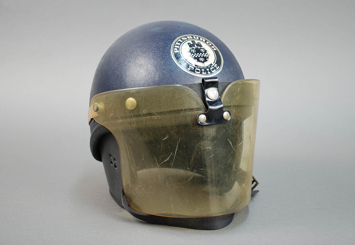 Pittsburgh Police riot helmet used during the 1968 riots in Pittsburgh