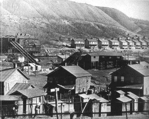 View of company houses in the mining town of Nanty-Glo, 1920s.
