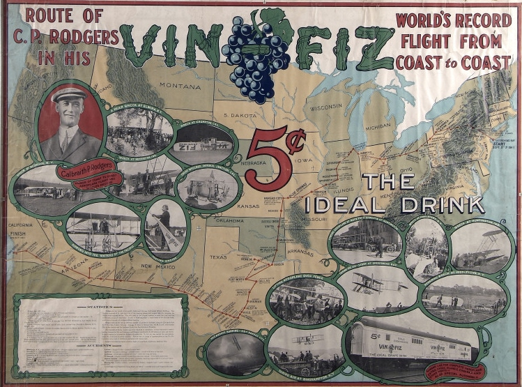 Vin Fiz poster, published by the Armour Meat Packing Plant of Chicago in 1912. Courtesy of the Smithsonian Institution's National Air and Space Museum.