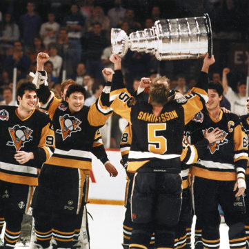 The Pens celebrate as Ulf Samuelsson hoists the Cup, 1991 | 50 Years of Hockey in Pittsburgh | Heinz History Center