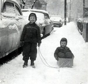 ALT:My sister Mary Jo pulling me in a home made sled, Amabell Street, Mt. Washington., 1959. | Your #Pixburgh Photo Album | #Pixburgh: A Photographic Experience