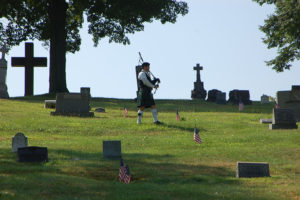 ALT:Bagpiper from Sortwell Bagpiping of Pittsburgh, in Calvary Cemetery, Homestead, Pa, August, 2011.| Your #Pixburgh Photo Album | #Pixburgh: A Photographic Experience