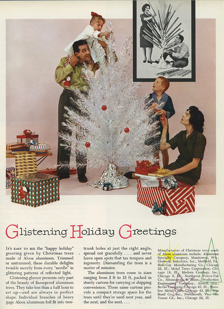 Article on aluminum Christmas trees from the October 1960 issue of Alcoa Aluminum Newsletter. Alcoa Company Records, MSS 282, Detre Library & Archives at the History Center.