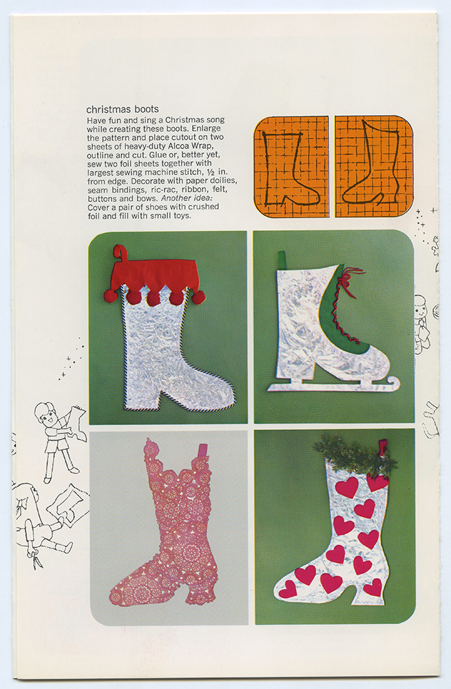 "Page from a ""Holiday decoration with Alcoa Wrap"" booklet describing how to make Christmas boot decoration, c. 1965. Alcoa Company Records, MSS 282, Detre Library & Archives at the History Center."