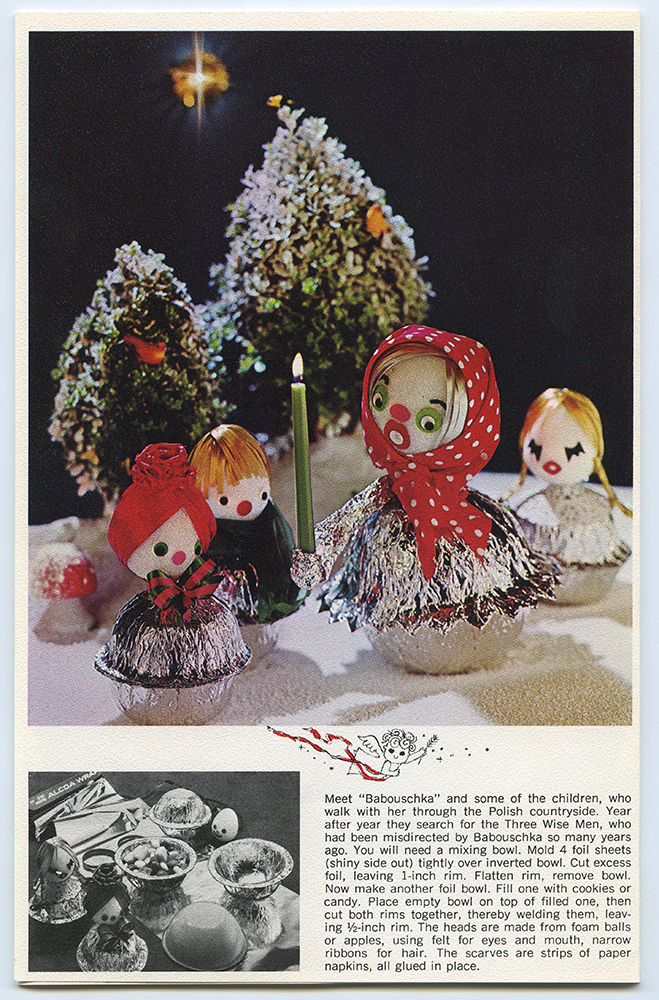 "Page from a ""Holiday decoration with Alcoa Wrap"" booklet describing how to make decorative cookie bowls, c. 1965. Alcoa Company Records, MSS 282, Detre Library & Archives at the History Center."