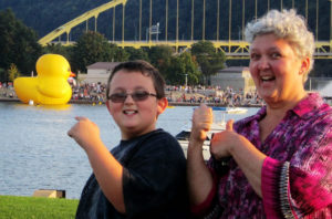 ALT:Sheila Holt (mom) and Jacob Schmidtetter (son), Sept. 28, 2013, North Shore, Pittsburgh, looking to the Point. | Your #Pixburgh Photo Album | #Pixburgh: A Photographic Experience