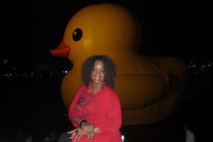 ALT:Sheila Beasley and our Giant Rubber Duck , September 28, 2013, in Point State Park near the river. | Your #Pixburgh Photo Album | #Pixburgh: A Photographic Experience
