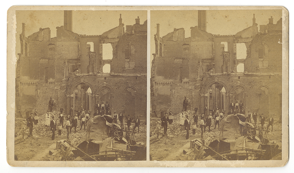"Stereograph card, ""The Railroad War at Pittsburgh, July 21-22, 1877."" 