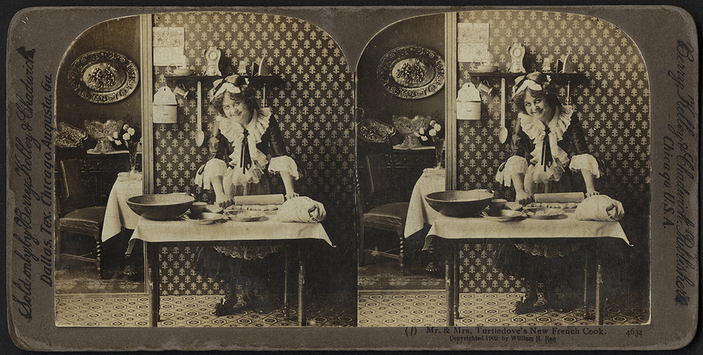 "Stereograph card, ""Mr. & Mrs. Turtledove's new French cook,"" 1902. Courtesy of the Boston Public Library."