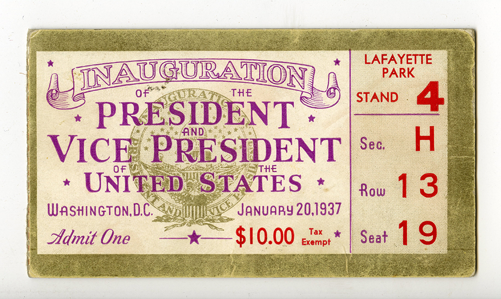 Ticket to Franklin Roosevelt's 1937 inauguration. | Edward Bolkovac Collection, 1995.027, Detre Library & Archives at the History Center.