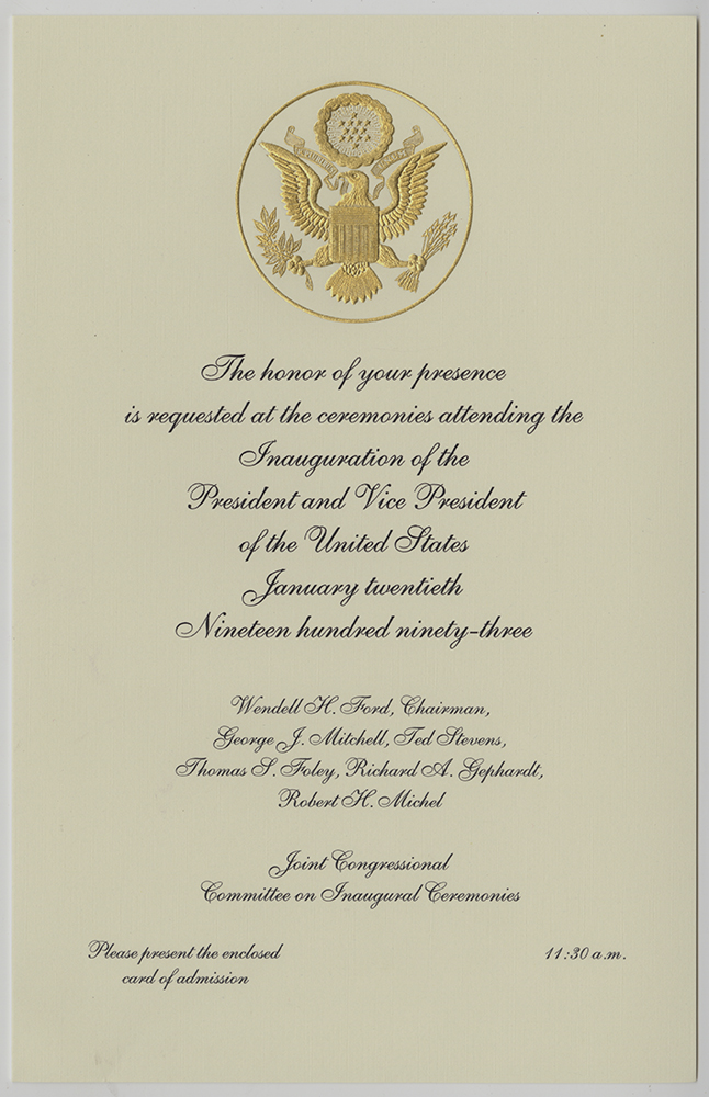 Invitation to the presidential inauguration, 1993. | Bryce Brothers & Lenox Inc. Glass, Detre Library & Archives at the History Center.