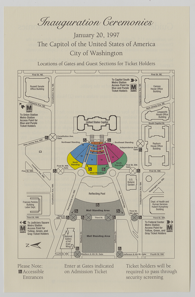 Seating map for Bill Clinton's 1997 inauguration. | Seating map for Bill Clinton's 1997 inauguration. Gift of Lenox Incorporated. | Heinz History Center