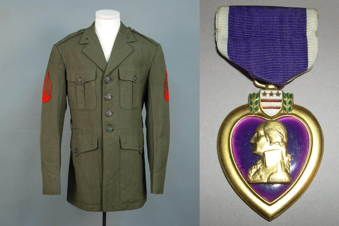 U.S. Marine Purple Heart awarded to John Clark for his service in Vietnam, 1966. U.S. Marine Corps dress jacket, 1960s. Gift of John Clark.