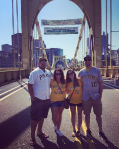ALT:Sam Moyer, Chad Wills, Doug and Kaylee Kenepp, on the Roberto Clemente bridge, summer 2016. | Your #Pixburgh Photo Album | #Pixburgh: A Photographic Experience