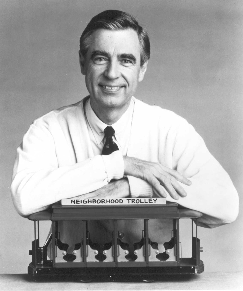 Mister Rogers with the Neighborhood Trolley. Photo courtesy of The Fred Rogers Company.