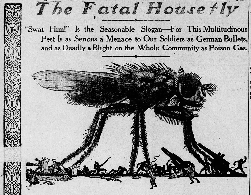 """The Fatal Housefly"" feature illustration, The Pittsburgh Press, June 2, 1918. 