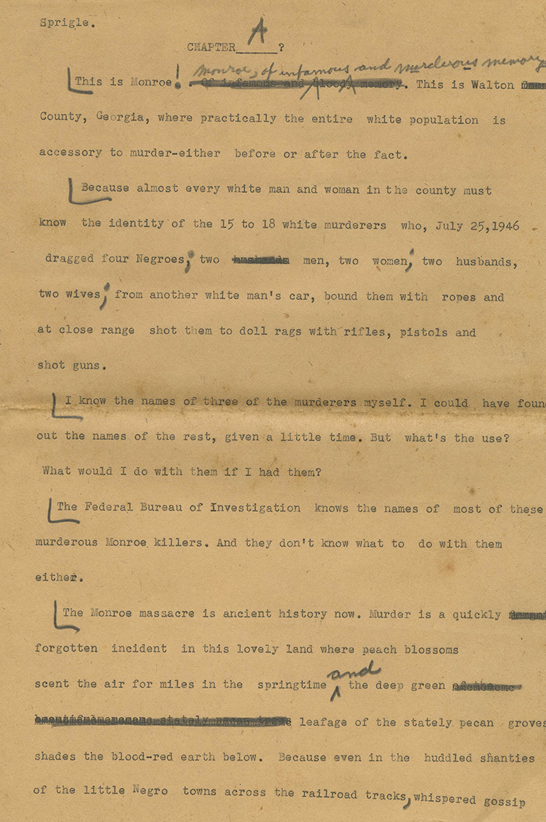 """First page of a draft for an article from the """"I was a Negro in the South for 30 Days"""" series. Ray Sprigle Papers and Photographs, Detre Library & Archives at the History Center."""