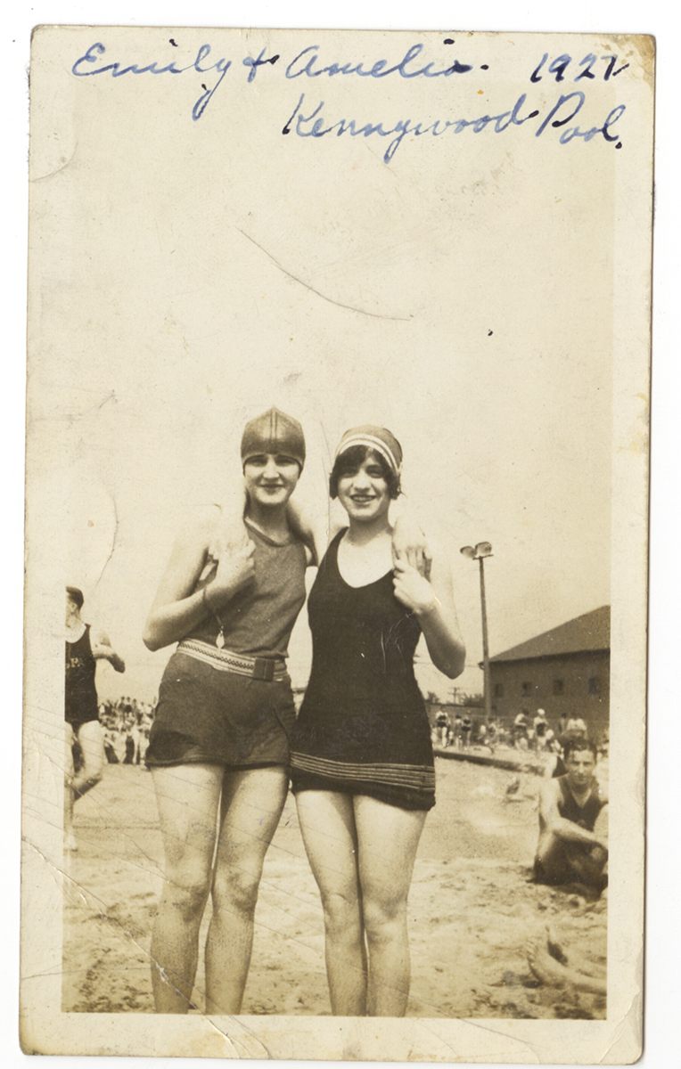 Amelia and her friend Emily at Kennywood Pool, 1927. From the Rajcan family collection, Detre Library & Archives at the History Center.