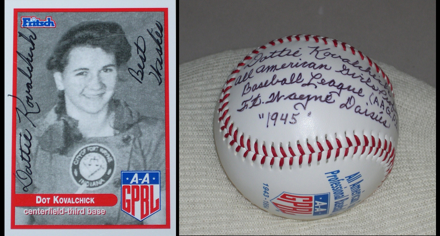Dottie Kovalchick signed baseball and trading card. | Heinz History Center