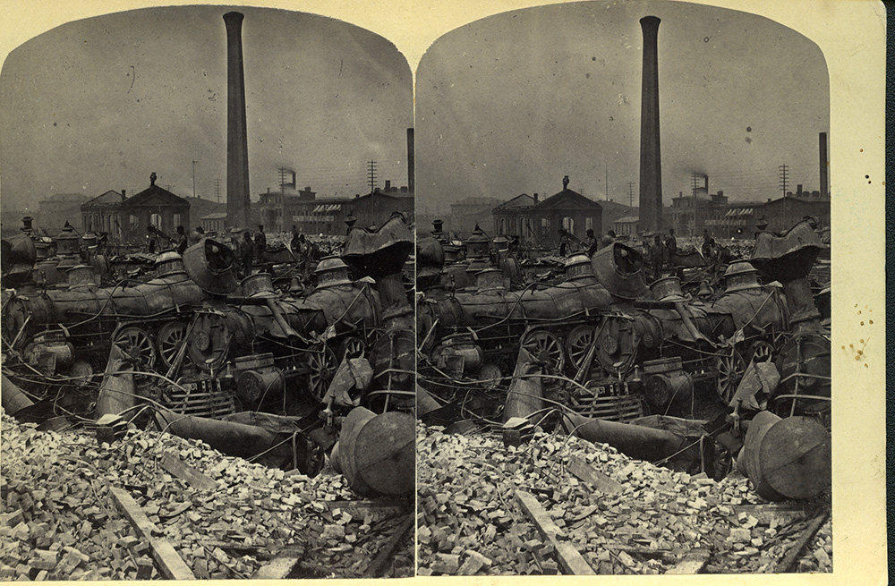 "J. R. Riddle, ""Ruins in Round-house, Pittsburgh, Pa after Riot, 1877."" 