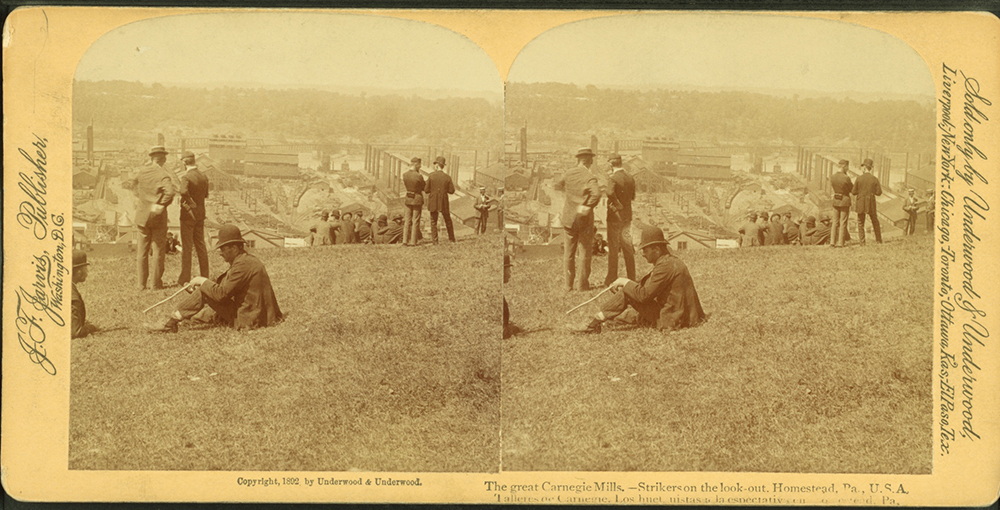 """""""The great Carnegie Mills. Strikers on the look-out, Homestead, Pa., 1892."""" 