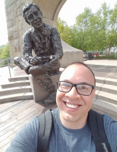 ALT:Abram Bergstrom & Mister Rogers, May 2017, not long after he moved to Pittsburgh, on the North Side. | Your #Pixburgh Photo Album | #Pixburgh: A Photographic Experience