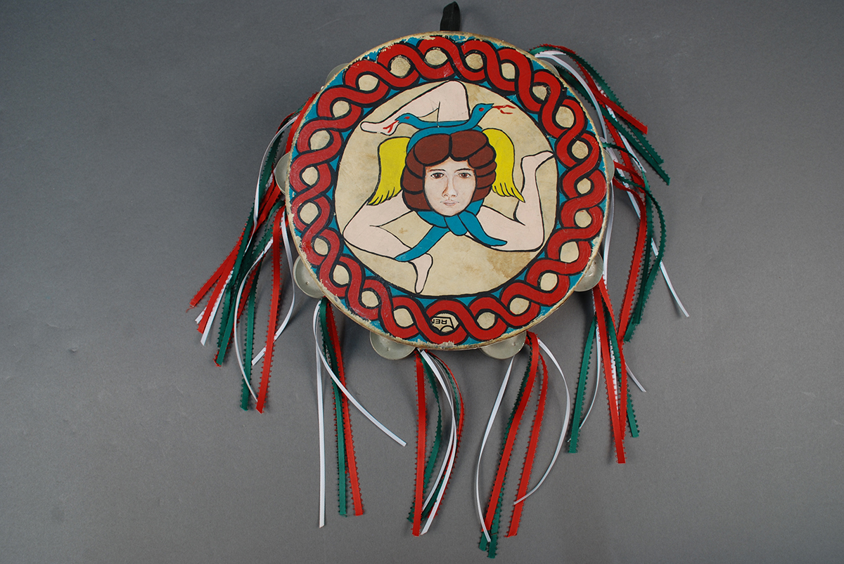 Hand painted tambourine used by I Campagnoli members, 1980s. Heinz History Center Collections, gift of Anna Marie Fiori.