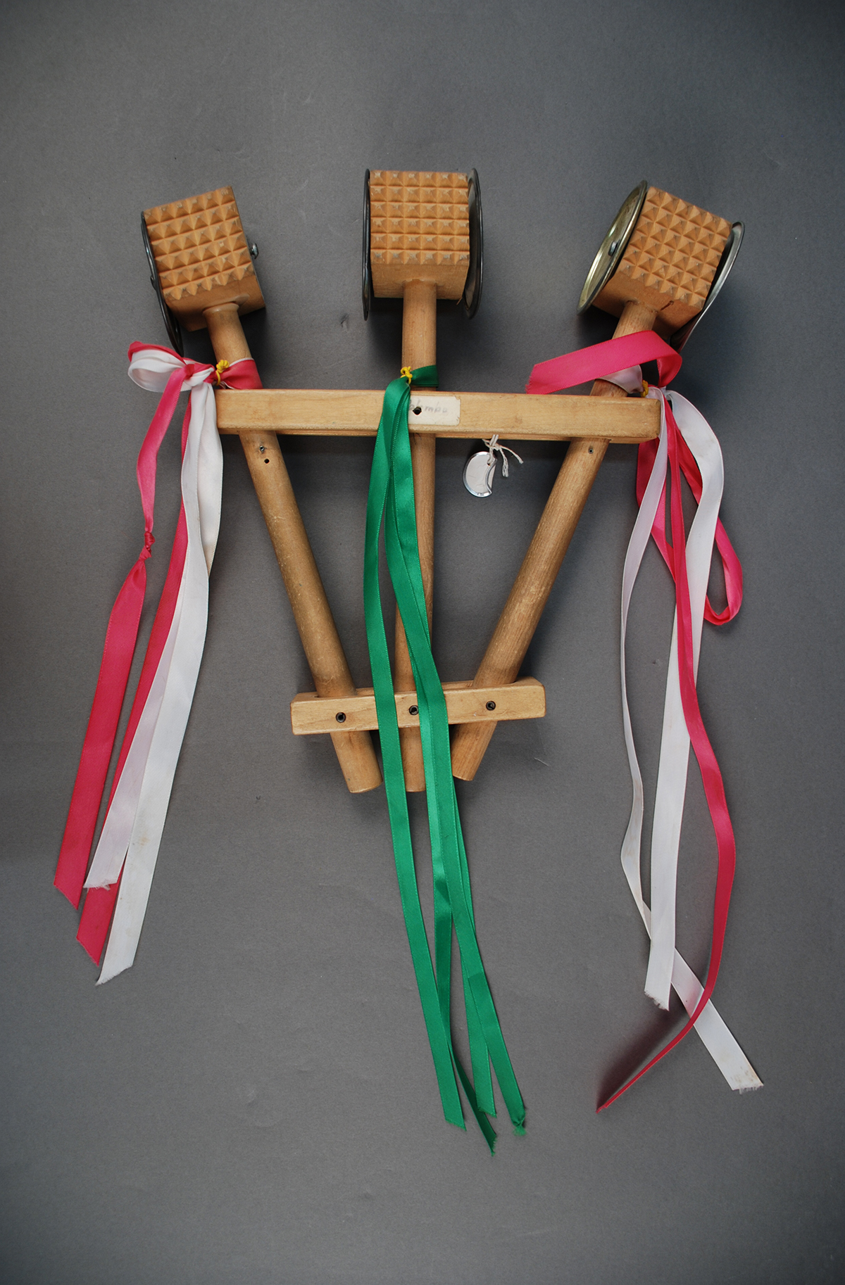 Dominic Palombo made this homemade triccheballache, a Southern Italian instrument made of wooden mallets that clack in a rhythm, 1980s. Heinz History Center Collections, gift of Anna Marie Fiori.