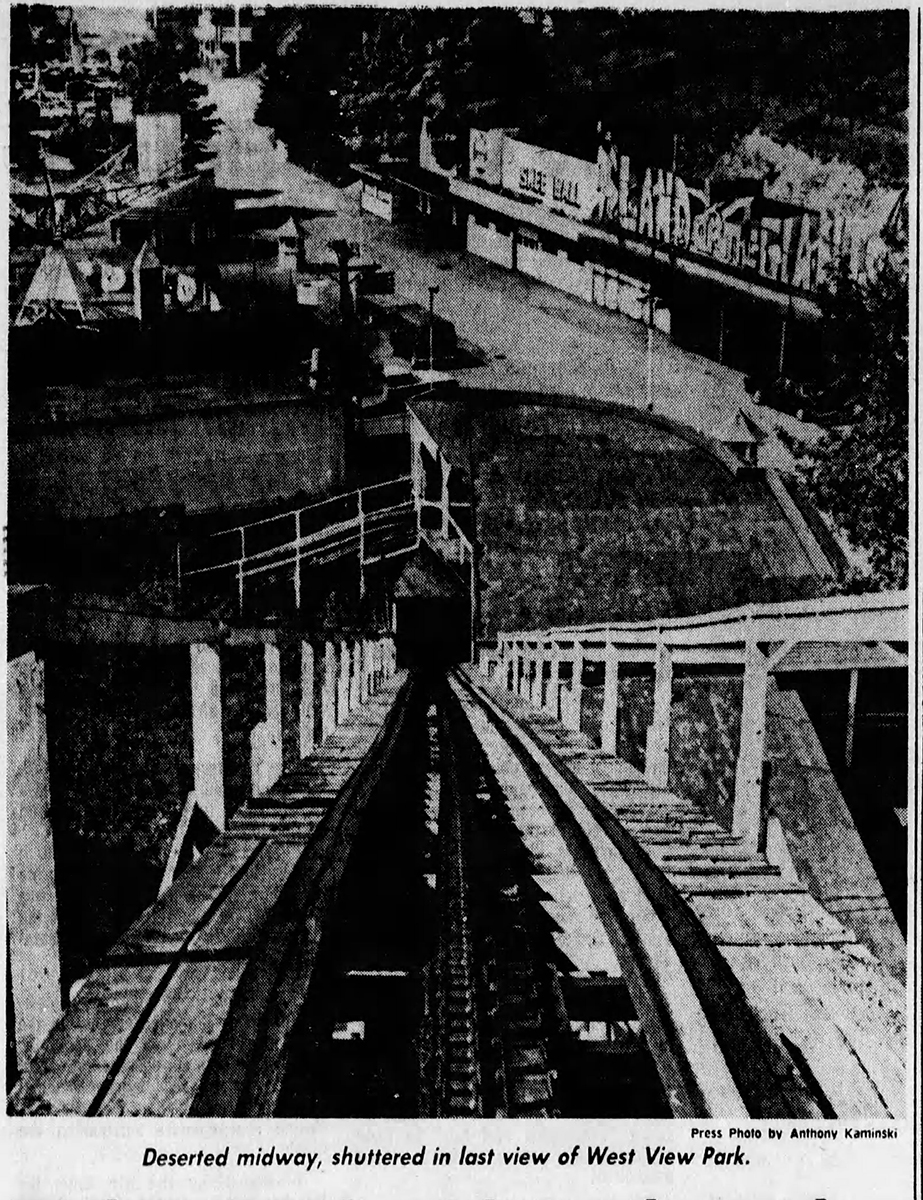 The view from the top of The Dips after West View closed, The Pittsburgh Press, September 30, 1977. | Heinz History Center