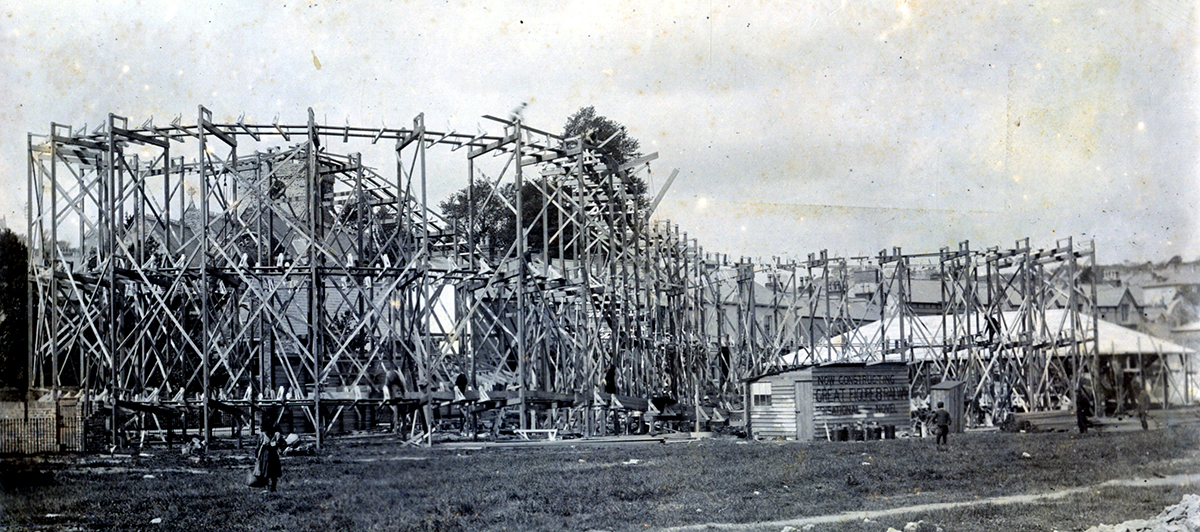 "Image showing the construction of the ""Great Figure 8 Railway,"" early 1900s. 