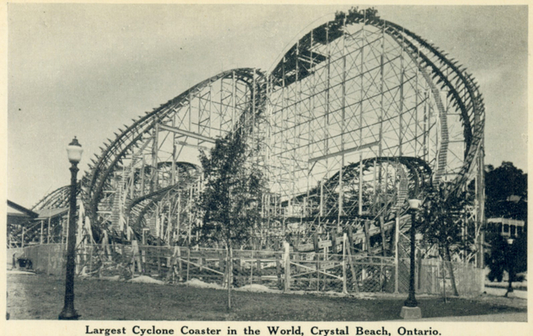 Postcard of the Harry G. Traver's Crystal Beach Cyclone, c. 1940. Courtesy of the Niagara Falls (Ontario) Public Library. | Heinz History Center