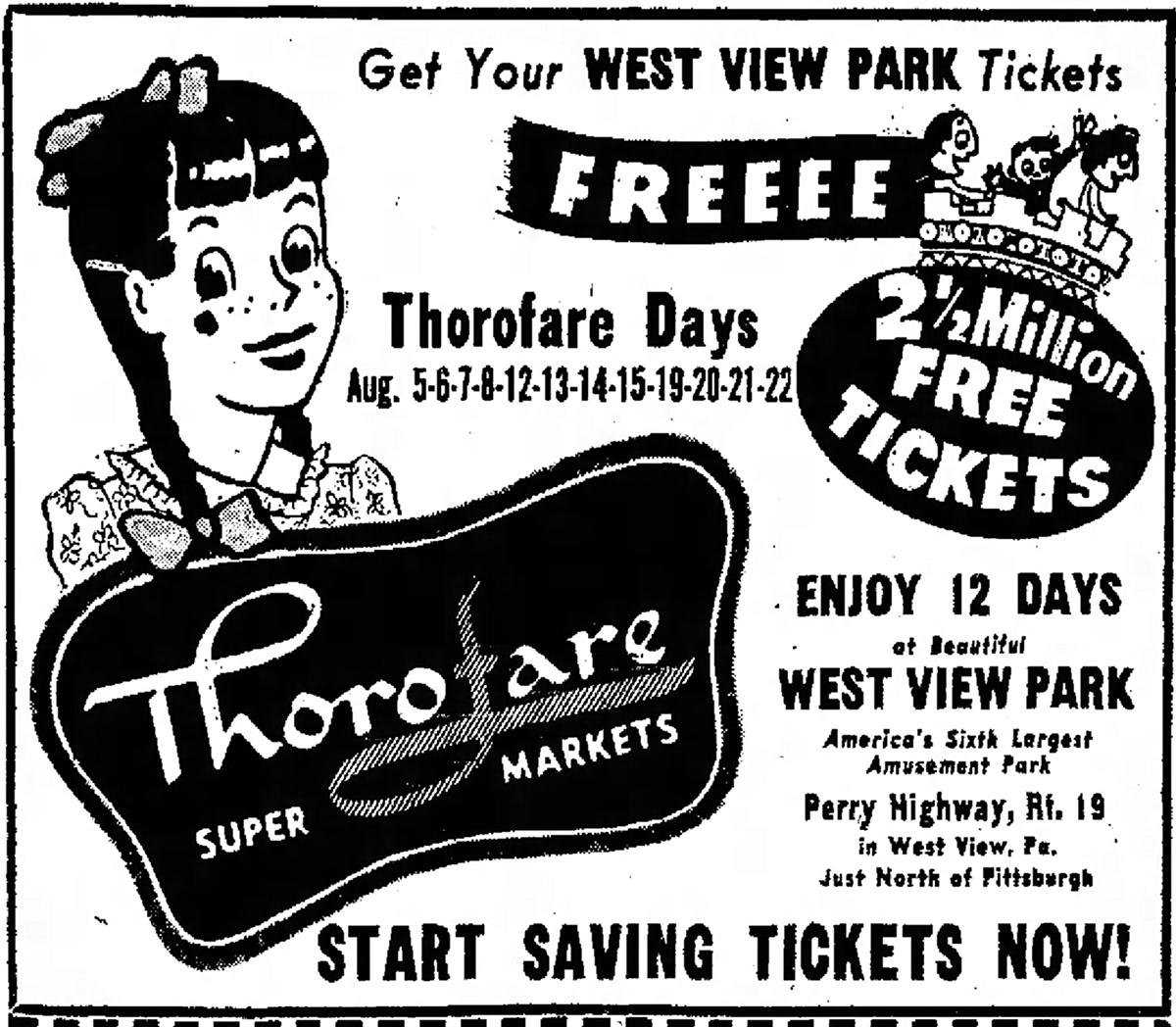 "Advertisement for West View Park's ""Thorofare Day"" promotion. From the Kittanning Leader Times, July 17, 1958. 