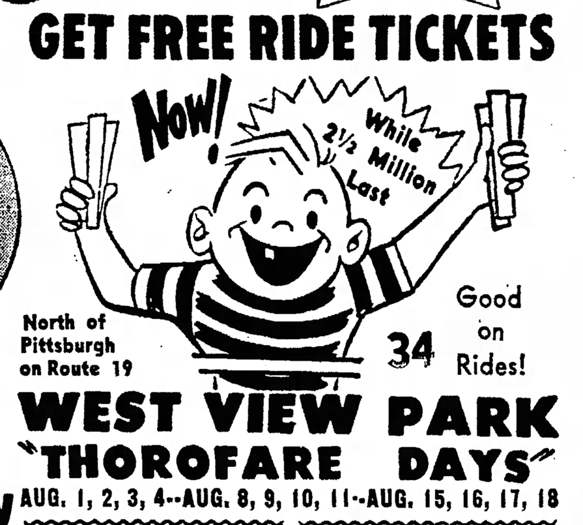"Advertisement for West View Park' s ""Thorofare Day"" promotion. From the Connellsville Daily Courier, July 6, 1961. 