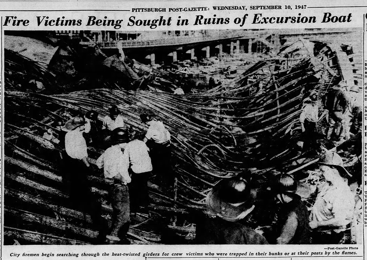 It took days for emergency personnel to retrieve all the victims of the Island Queen disaster. Pittsburgh Post-Gazette, Sept. 10, 1947.