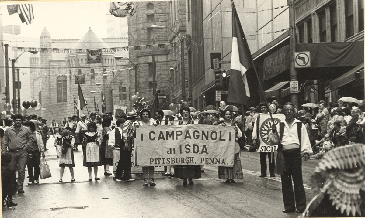 I Campagnoli marching in a parade in downtown Pittsburgh, 1980s. I Campagnoli Papers & Photographs, Detre Library & Archives at the History Center. Gift of Mary Ferro.