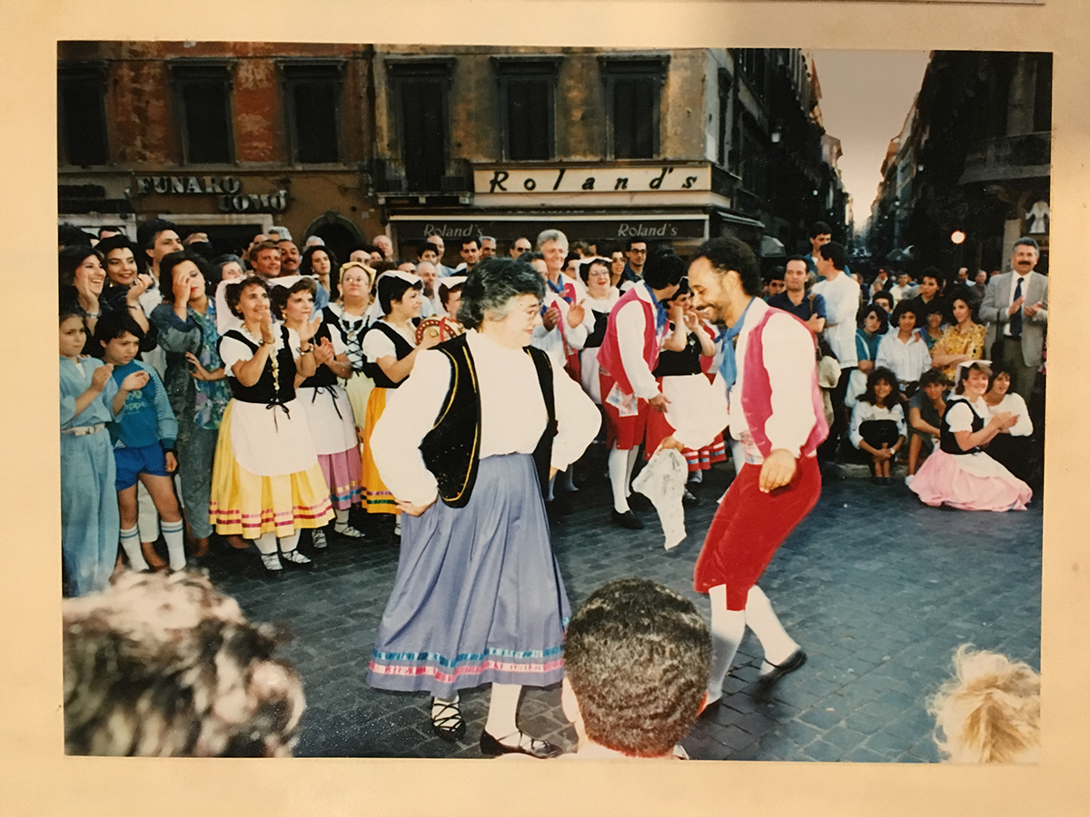 Jane Ferro and Blaise Panizzi dance in a piazza in Italy, 1987. I Campagnoli Papers & Photographs, Detre Library & Archives at the History Center. Gift of Anna Marie Fiori.