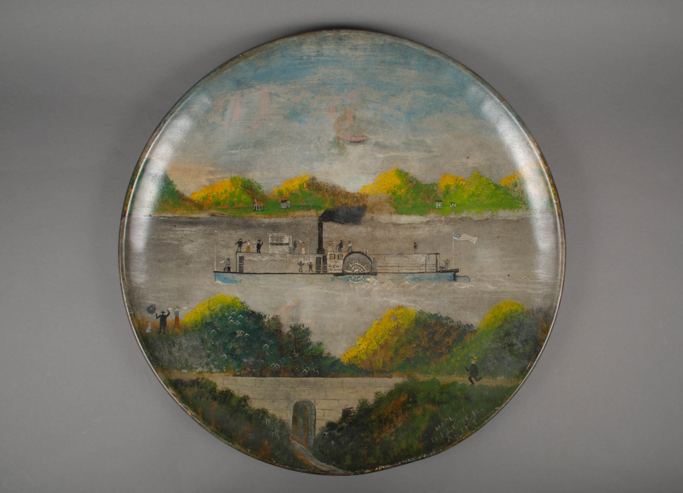 Folk painting of the steamboat New Orleans, c. 1800s. | Heinz History Center